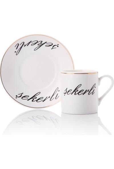 Hanedanev Mona Sade Şekerli Orta Yazılı Porselen Fincan Takımı Kahve Seti