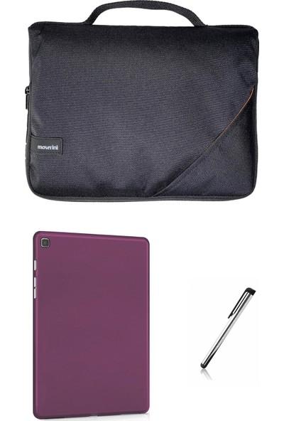 Moserini Samsung Galaxy Tab S6 Lite SM-P610 10.4 Smart Slim Siyah Tablet Çantası - Mor Rubber Silikon Kılıf Mor