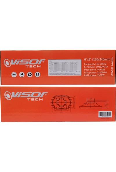 Vısor Oval Oto Hoparlör 6x9 Inch (160X240MM) 2X1000W - 2X50RMS Ses Kalitesi 2 Adet