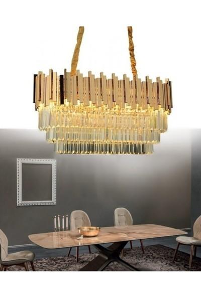 Burenze A+ Lüks Modern Kristal Taşlı Sarkıt Avize Parlak Gold Sarı Kaplama Yemek Masası BURENZE613