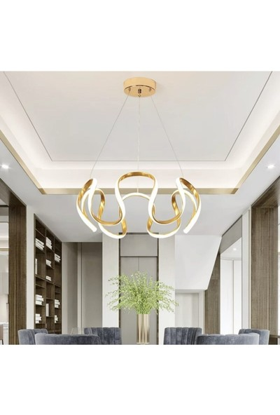 Burenze Luxury Modern Sarkıt Power LED Avize Gold Sarı BURENZE742
