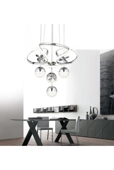 Burenze Luxury Modern Sarkıt Toplu Kelebekli LED Avize Krom BURENZE700