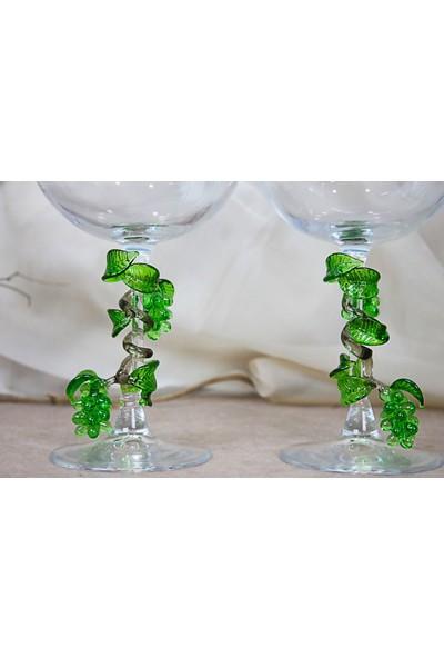 Adamodart Yeşil Üzüm Salkım Figürlü Balon Kadeh 2'li Set