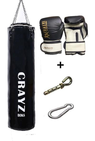 Crazy Orta Boy Dolu Boks Kum Torbası 100cm x 30cm + Boks Eldiven Seti + Askı Aparatı