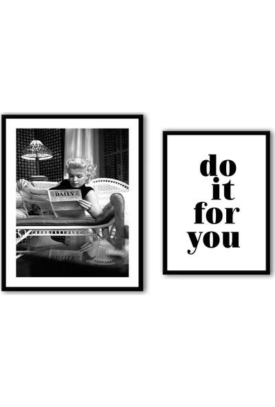 Ren House Marilyn Monroe Do It For You 2 Parça Çerçeveli Modern Poster Tablo Seti