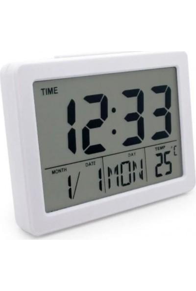 Hanedanev LCD Ekran Beyaz Dijital Alarmlı Masa Saati Takvim Sıcaklık Termometre