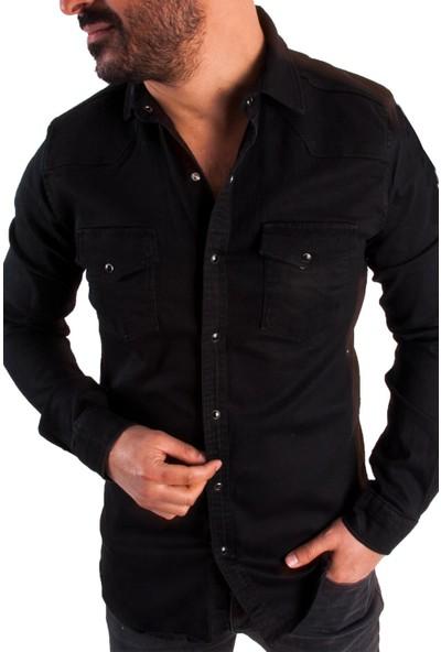 Las Vegas Siyah Renk Çıt Çıt Düğmeli Erkek Kot Gömlek