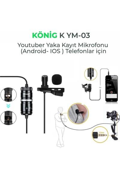 König K-YM03 Yaka Kayıt Mikrofonu Telefonlar Için