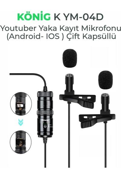 König K-YM04D Yaka Kayıt Mikrofonu Çift Kabsüllü