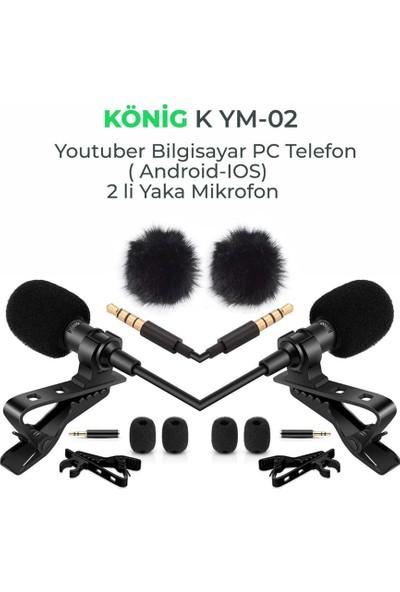 König K-YM02 Bilgisayar Pc Telefon 2'li Yaka Mikrofonu
