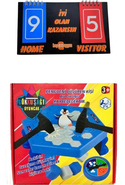 hepenuygun Gökkuşağı Buz Tuzağı Penguen Düşürmeli Buz Kırma Zeka ve Strateji Oyunu Skorbordlu