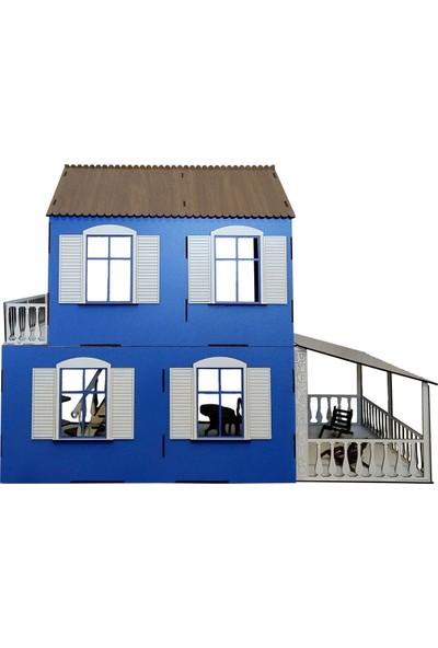Alfagama Ahşap Çocuk Oyun Evi 36 Parça Eşyalı Seti Mavi 71X55 cm