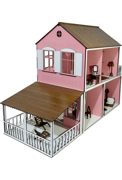 Alfagama Ahşap Çocuk Oyun Evi 36 Parça Eşyalı Seti Pembe 71X55 cm