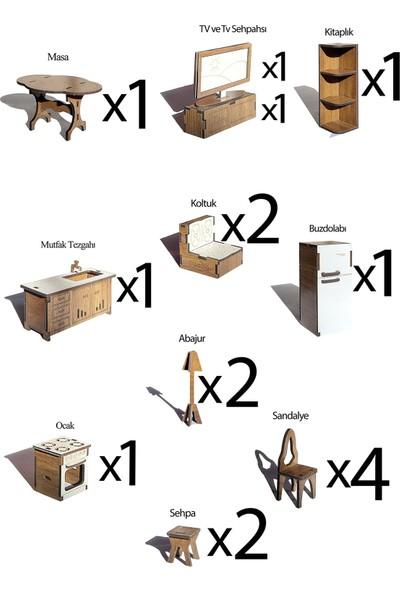 Alfagama Ahşap Oyun Evi 17 Parça Eşyalı Pembe-Ceviz