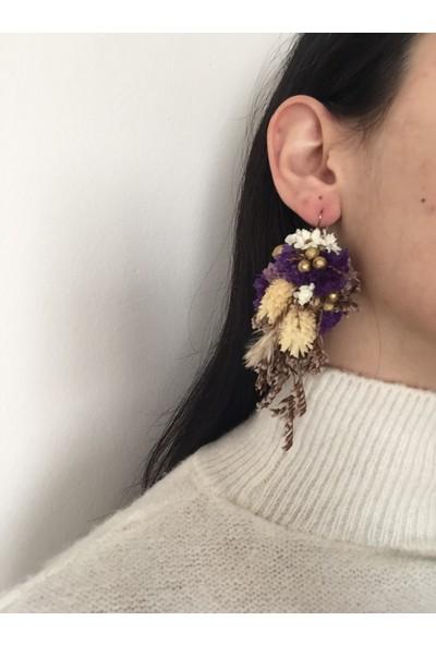 Afloday Phalaris Mor Çiçek Küpe