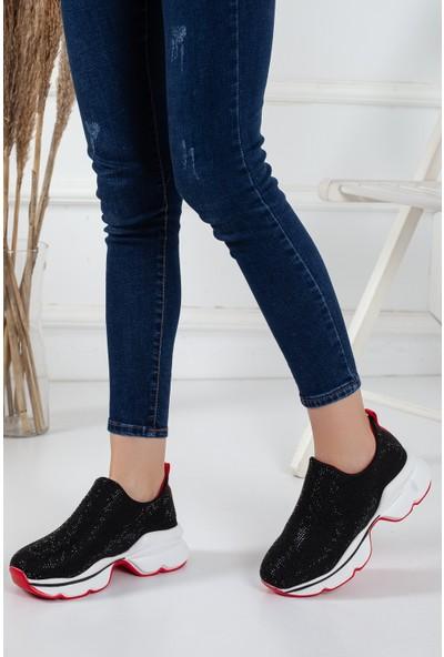 Zulu Siyah Taş Işlemeli Kadın Spor Ayakkabı Sneaker