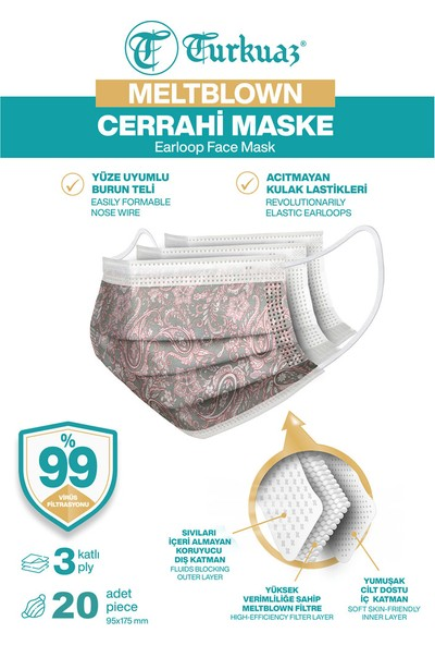 Turkuaz Desenli 20 Adet Cerrahi Maske 3 Kat Meltbrown Burun Telli Yumuşak Elastik Lastikli Pembe Dantelli