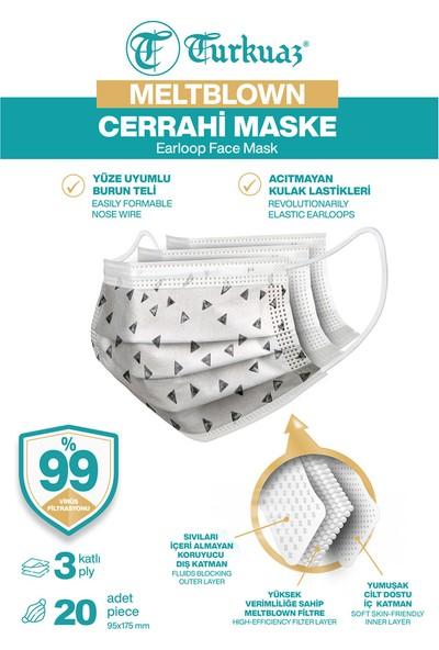 Turkuaz Desenli 20 Adet Cerrahi Maske 3 Kat Meltbrown Burun Telli Yumuşak Elastik Lastikli Üçgen
