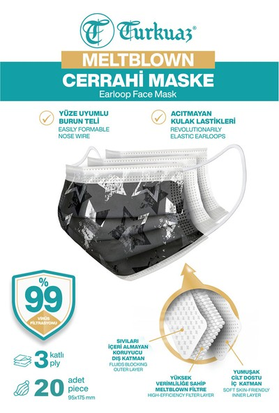 Turkuaz Desenli 20 Adet Cerrahi Maske 3 Kat Meltbrown Burun Telli Yumuşak Elastik Lastikli Star