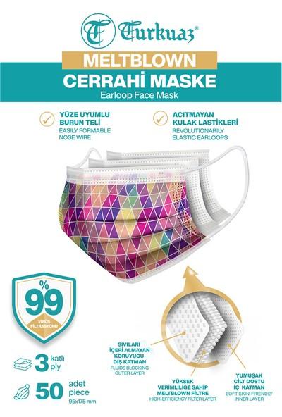 Turkuaz Desenli 50 Adet Cerrahi Maske 3 Kat Meltbrown Burun Telli Yumuşak Elastik Lastikli Mozaik