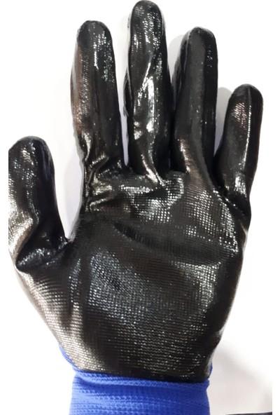 Bul-Max Bulmax Mavi-Siyah Nitril Naylon Eldiven BMX-6043