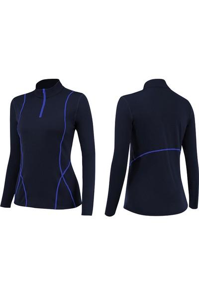 iHome Kadın Plus Kadife Uzun Kollu Yoga Spor Giyim Üst 02513