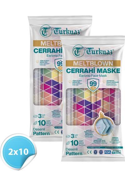 Desenli 20 Adet Cerrahi Maske 3 Kat Meltbrown Burun Telli Yumuşak Elastik Lastikli Mozaik