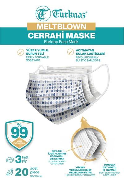 Desenli 20 Adet Cerrahi Maske 3 Kat Meltbrown Burun Telli Yumuşak Elastik Lastikli Mavi Puantiye