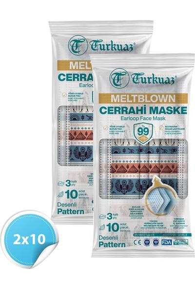 Desenli 20 Adet Cerrahi Maske 3 Kat Meltbrown Burun Telli Yumuşak Elastik Lastikli Mısır