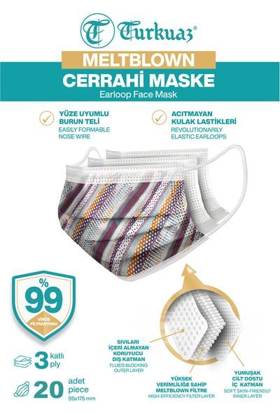 Desenli 20 Adet Cerrahi Maske 3 Kat Meltbrown Burun Telli Yumuşak Elastik Lastikli Şerit