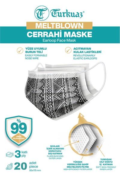 Desenli 20 Adet Cerrahi Maske 3 Kat Meltbrown Burun Telli Yumuşak Elastik Lastikli Siyah Etnik