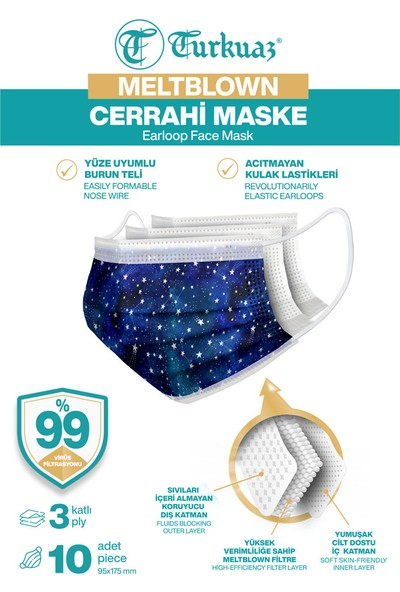 Turkuaz Desenli 10 Adet Cerrahi Maske 3 Kat Meltbrown Burun Telli Yumuşak Elastik Lastikli Gökyüzü