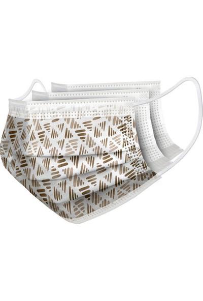 Turkuaz Desenli 10 Adet Cerrahi Maske 3 Kat Meltbrown Burun Telli Yumuşak Elastik Lastikli Kahve Üçgen