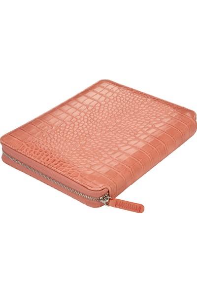 Victoria's Journals Croco Zipper Folder Defter Noktalı Pembe