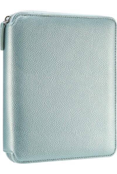Victoria's Journals Buffalo Zipper Folder Defter Noktalı Sedefli Mavi