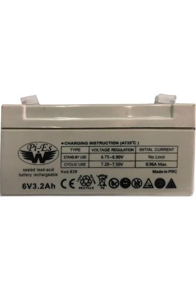 Pi-Es 6 Volt 3.2 Amper Bakımsız Kuru Akü 125*33*60-0,62 kg