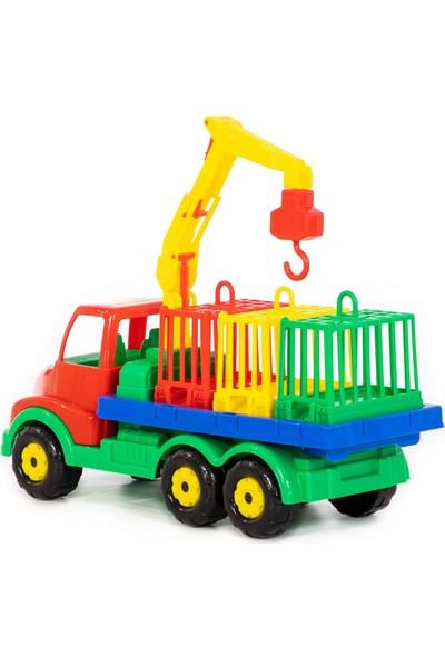 Wd Oyuncak Iş Makineleri: Vinçli Hayvan Nakil Aracı- 3 Kafesli Gerçekçi Dizayn
