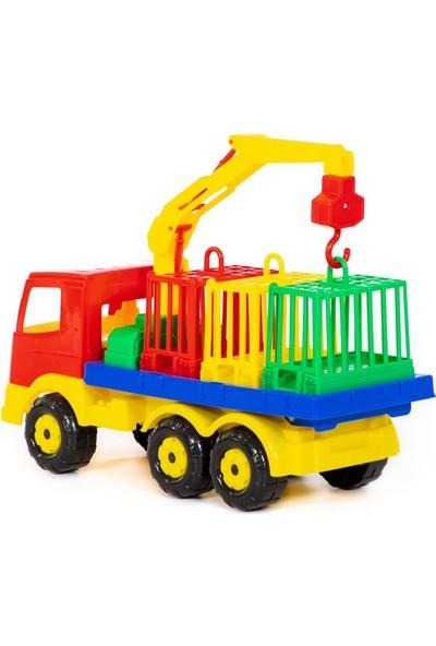 Wd Oyuncak Iş Makineleri: Vinçli Hayvan Nakil Aracı - 3 Kafesli Gerçekçi Dizayn