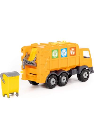 Wd Oyuncak Iş Makineleri: Sarı Ultra Çöp Taşıma / Geri Dönüşüm Aracı - Açılır Kapanır Bölmeli.
