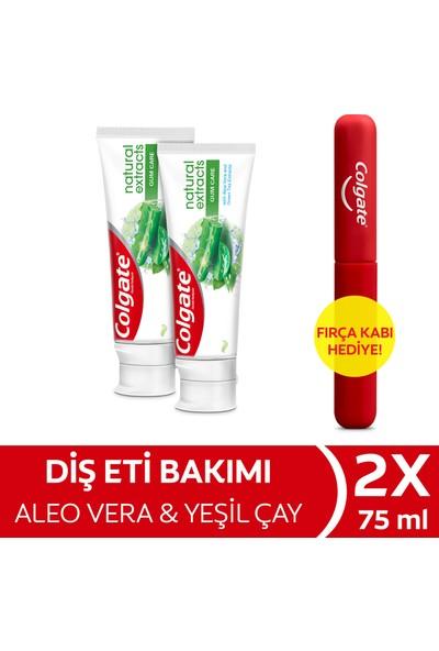 Colgate Natural Extracts Aloe Vera ve Yeşil Çay Özlü Diş Macunu 75 ml x 2 Adet + Fırça Kabı