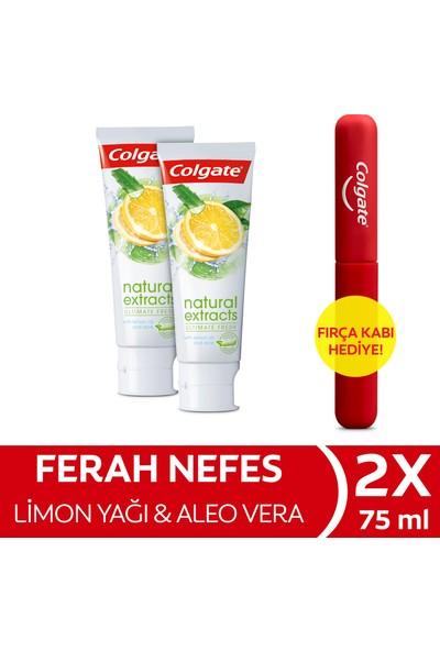 Colgate Natural Extracts Limon Yağı ve Aloe Vera Diş Macunu 75 ml x 2 Adet + Fırça Kabı