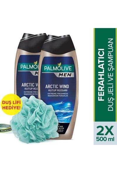 Palmolive Men Extreme Freshness 2'si 1 Arada Duş Jeli ve Şampuan 500 ml x 2 Adet + Duş Lifi