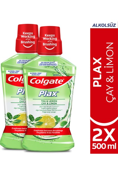 Colgate Plax Çay ve Limon Plağa Karşı Alkolsüz Ağız Bakım Suyu 500 ml x 2 Adet