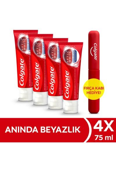 Colgate Optic White Anında Beyazlık Beyazlatıcı Diş Macunu 4 x 75 ml + Diş Fırçası Kabı