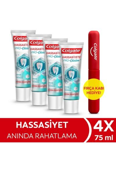 Colgate Hassasiyete Pro Çözüm Anında Rahatlama Diş Macunu 75 ml x 4 Adet + Fırça Kabı