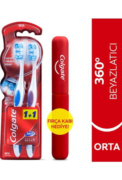 Colgate 360 Optik Beyaz Orta Beyazlatıcı Diş Fırçası 1+1 Fırça Kabı Hediye