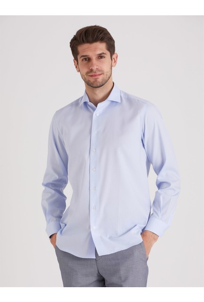 Dufy Mavi Non Iron Jakar Erkek Gömlek - Regular Fıt