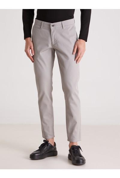 Dufy Gri Diagonel Erkek Pantolon - Slım Fıt