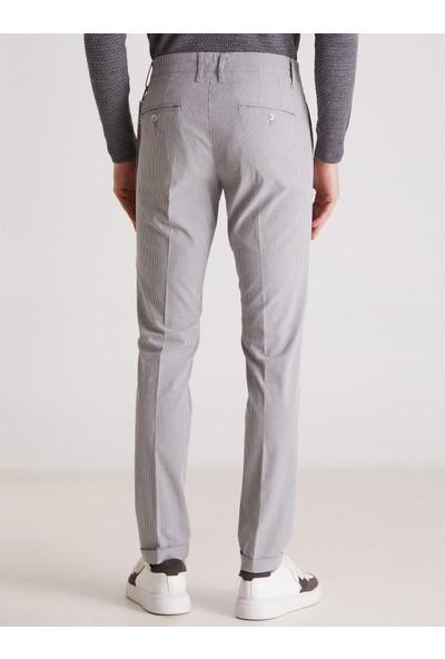 Dufy Gri Çizgili Erkek Pantolon - Slım Fıt