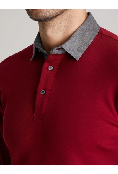 Dufy Vişne Düz Erkek Sweatshirt - Slim Fit